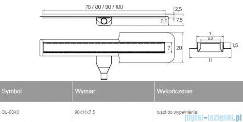 New Trendy Vimo odpływ liniowy z rusztem do wypełnienia 90x11x7,5 cm OL-0040