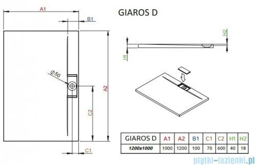 Radaway Giaros D Brodzik prostokątny 120x100x4cm M3GRD1210
