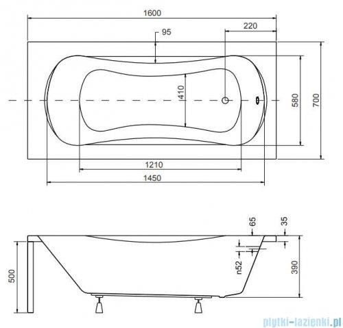 Besco Aria 160x70cm wanna prostokątna + obudowa + syfon #WAA-160-PA/#OAA-160-PA/19975