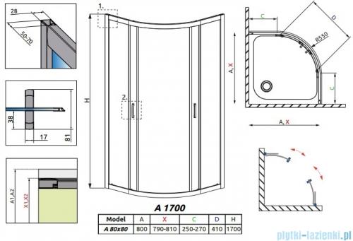 Radaway Premium Plus A Kabina półokrągła 80x80 wysokość 170cm szkło przejrzyste  30411-01-01N