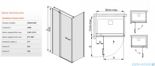 Sanplast kabina narożna prostokątna  100x120x198 cm KNDJ2/PRIII-100x120 przejrzyste 600-073-0330-01-401
