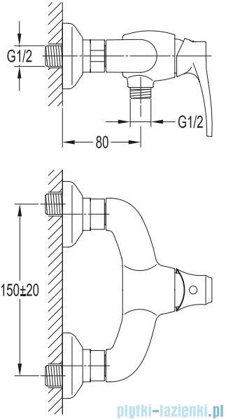 Omnires Art Deco bateria natryskowa miedź antyczna AD5140ORB