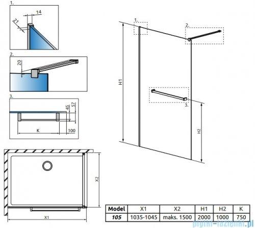 Radaway Modo New II z wieszakiem kabina Walk-in 105x200 szkło przejrzyste 389105-01-01W