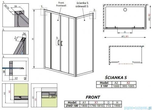 Radaway Premium Plus DWD+S kabina prysznicowa 180x100cm szkło przejrzyste 33373-01-01N/33423-01-01N