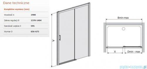 Sanplast Free Zone drzwi przesuwne D2P/FREEZONE 140x190 cm prawa przejrzyste 600-271-3200-38-401