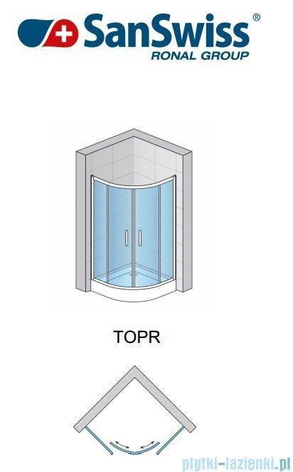 SanSwiss Top-Line TOPR Kabina prysznicowa półokrągła 75-90cm profil srebrny TOPR50SM10107