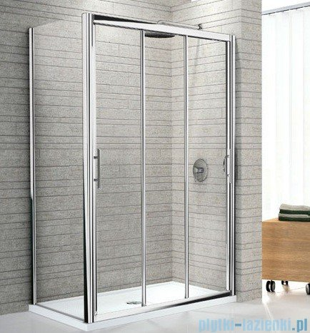 Novellini Drzwi prysznicowe przesuwne LUNES P 126 cm szkło przejrzyste profil chrom LUNESP126-1K