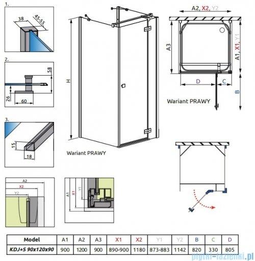 Radaway Kabina prysznicowa Almatea KDJ+S 90x120x90 prawa szkło przejrzyste 31553-01-01R1/31553-01-01R2