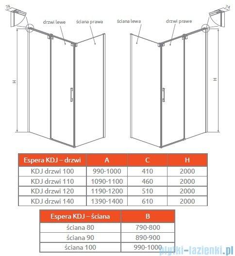 Radaway Espera KDJ S Ścianka boczna 90 lewa szkło przejrzyste 380149-01L
