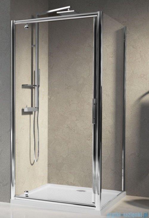 Novellini Drzwi prysznicowe obrotowe LUNES G 96 cm szkło przejrzyste profil srebrny LUNESG96-1B