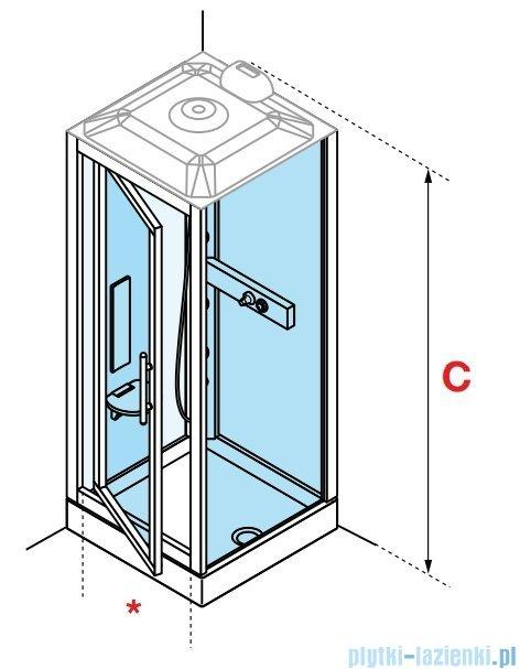 Novellini Glax 3 GF90 kabina masażowo-parowa 90x90 chrom GL3GF99M1N-1K