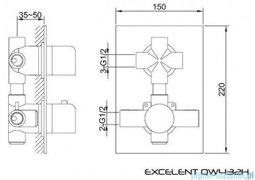 Kohlman Excelent termostatyczna podtynkowa bateria wannowo-prysznicowa z dwoma wyjściami QW432H