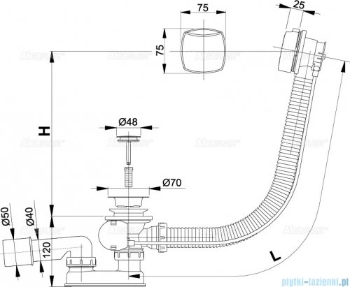 Alcaplast  syfon wannowy automatyczny chrom A51CR-80