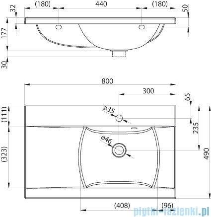 Ravak Umywalka Classic 80x49 cm prawa z otworami XJDP1180000