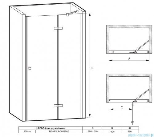 Massi Lapaz drzwi prysznicowe 100x190cm przejrzyste MSKP-LA-0031000
