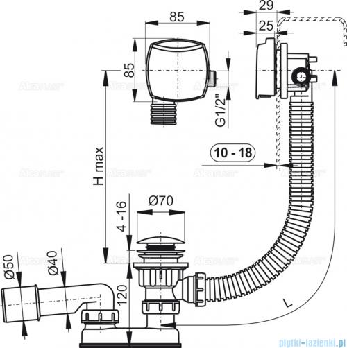 Alcaplast  syfon wannowy klik-klak z funkcją napełniania przez przelew do wanien grubościennych, chrom A509KM-100