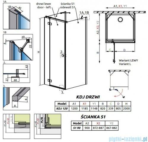 Radaway Essenza New Kdj+S kabina 90x120x90cm lewa szkło przejrzyste rysunek techniczny