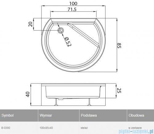 New Trendy Rondo brodzik przyścienny z siedziskiem i obudową 100x85x40 cm B-0390