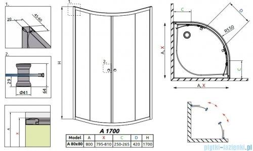 Radaway Classic A Kabina prysznicowa półokrągła z drzwiami przesuwnymi 80x80x170 szkło fabric profile białe 30011-04-06
