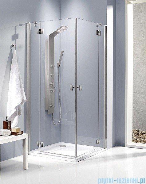Radaway Kabina prysznicowa Essenza KDD 80x100 szkło przejrzyste + brodzik Doros D + syfon