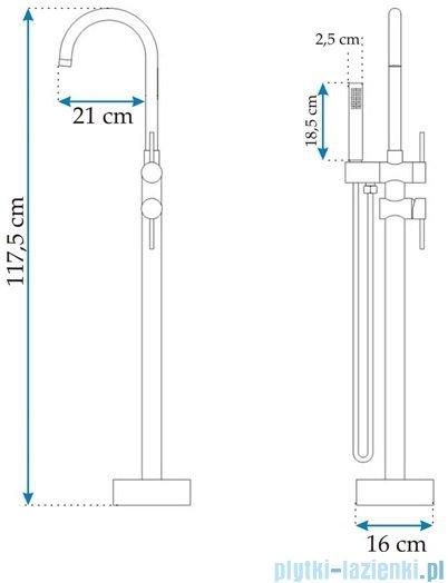 Rea Ortis Black bateria wannowa wolnostojąca z zestawem natryskowym czarna REA-B0232
