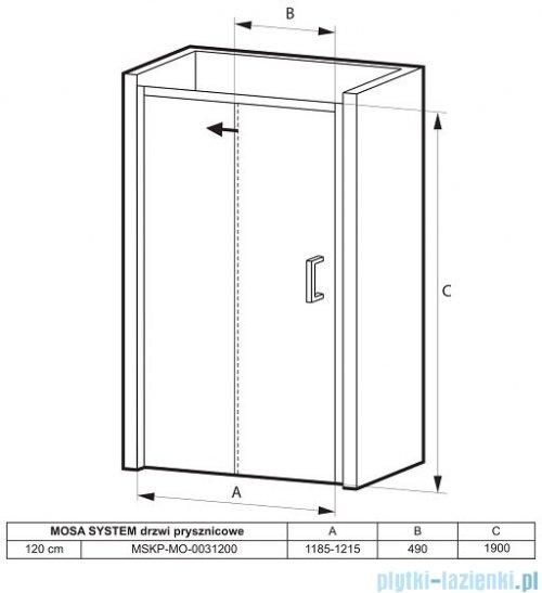 Massi Mosa drzwi prysznicowe przesuwne 120x190cm przejrzyste MSKP-MO-0031200