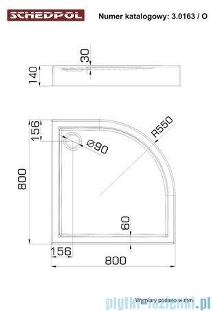 Schedpol Competia Brodzik półokrągły z nośnikiem 80x80x14cm 3.0163