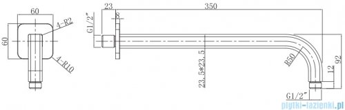 Omnires ramię ścienne L=35 cm chrom/biały RA15CRB