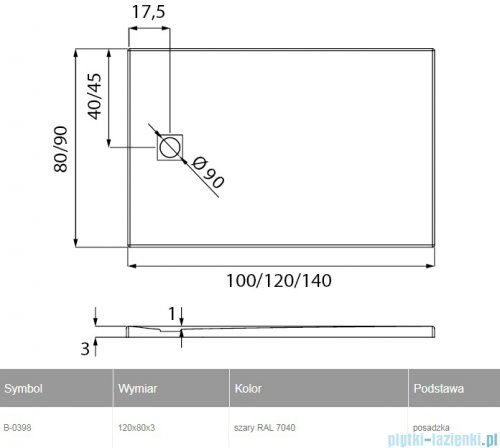 New Trendy Mori brodzik prostokątny z konglomeratu 120x80x3 cm szary B-0398