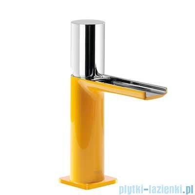 Tres Loft Colors Bateria umywalkowa z korkiem automatycznym wylewka kaskada otwarta kolor żółty 200.110.02.AM.D