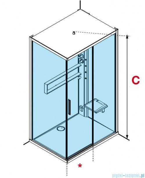 Novellini Glax 2 2.0 kabina z hydromasażem 120x80 prawa total biała G222P120DM1-1UU
