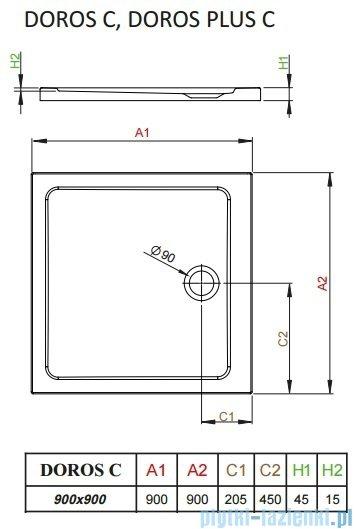 Radaway Arta Kdj II kabina 90x90cm lewa szkło przejrzyste + brodzik Doros C + syfon