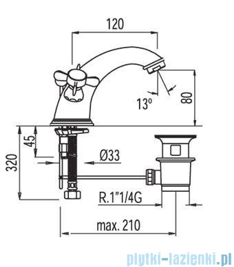 Tres Retro-Tres Bateria umywalkowa z korkiem automatycznym 1.29.103.61