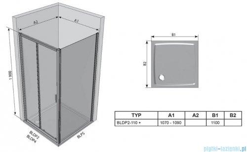 Ravak Blix BLDP2 drzwi prysznicowe 110cm aluminium grape Anticalc 0PVD0C00ZG