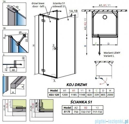 Radaway Essenza New Kdj+S kabina 75x120x75cm lewa szkło przejrzyste 385024-01-01L/384049-01-01/384049-01-01