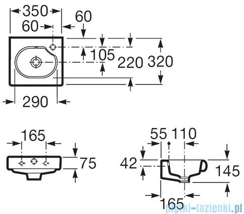 Roca Meridian-N Compacto Umywalka 35x32cm z otworem A327249000