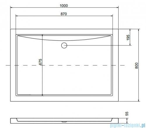 Besco Alpina Brodzik 100x80x3/5.5cm prostokątny wpuszczany w posadzkę BAA-100-K