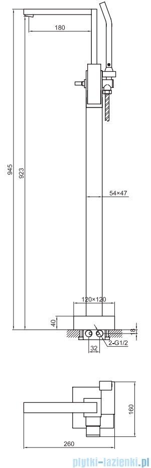 Kohlman Excelent bateria wannowa wolnostojąca QF1165H