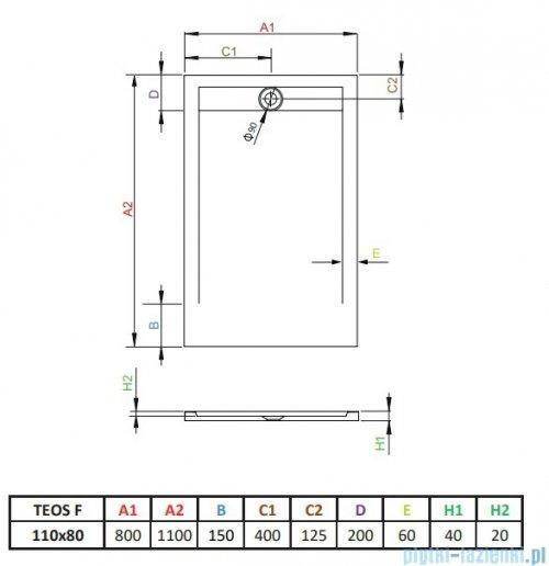 Radaway Teos F brodzik 110x80cm antracyt HTF11080-64
