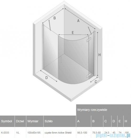 New Trendy New Merana kabina asymetryczna 100x80x195cm lewa przejrzyste K-0333