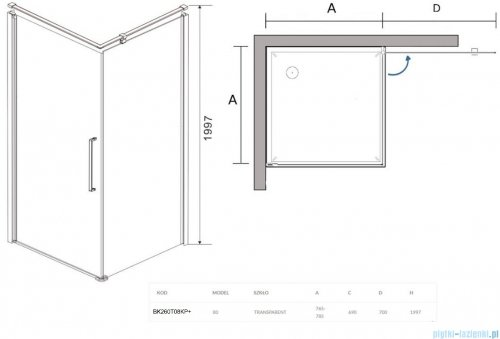 Sea Horse Fresh Line Black kabina natryskowa narożna kwadratowa 80x80cm prawa z powłoką przejrzyste BK260T08KP+