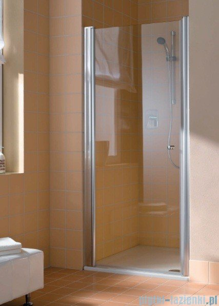 Kermi Atea Drzwi wahadłowe jednoskrzydłowe lewe, szkło przezroczyste, profile srebrne 95cm AT1WL09518VAK