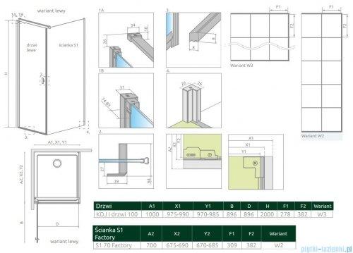 Radaway Nes Black Kdj I Factory kabina 100x70cm lewa rysunek techniczny