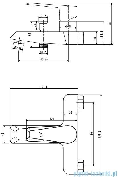 Omnires Astoria bateria wannowa chrom AS5630CR