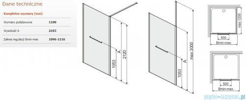 Sanplast Altus PI/ALTIIa kabina walk-in 110x212 cm przejrzyste 600-121-2551-42-401