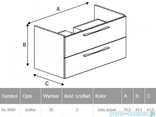 New Trendy Notti szafka umywalkowa 80 cm biały połysk ML-9080