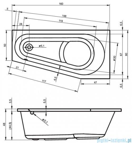 Riho Delta wanna asymetryczna lewa 160x80 z hydromasażem TOP Aero11 BB83T1