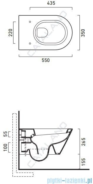 Catalano Zero Wc 55 miska WC wisząca 55x35 cm biała 1VS55N00