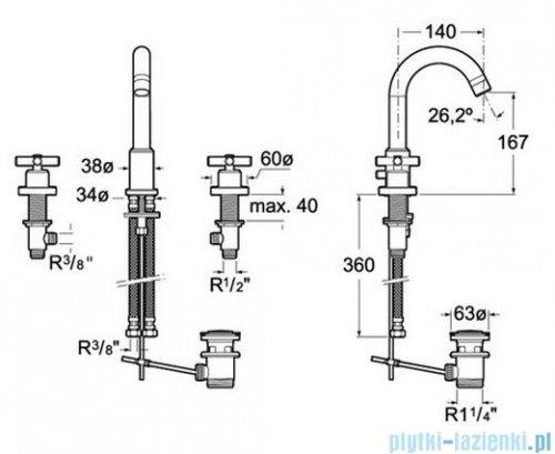 Roca Loft Bateria umywalkowa sztorcowa A5A4443C00