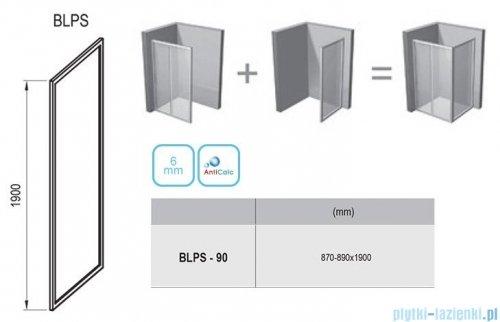 Ravak Blix BLPS ścianka boczna stała 90cm satyna transparent Anticalc 9BH70U00Z1